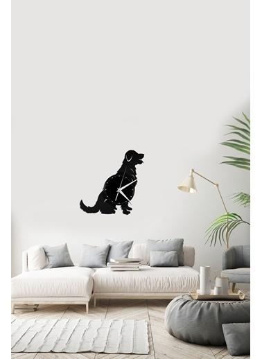 Angemiel Home Golden Köpek Pleksi Duvar Saati Siyah